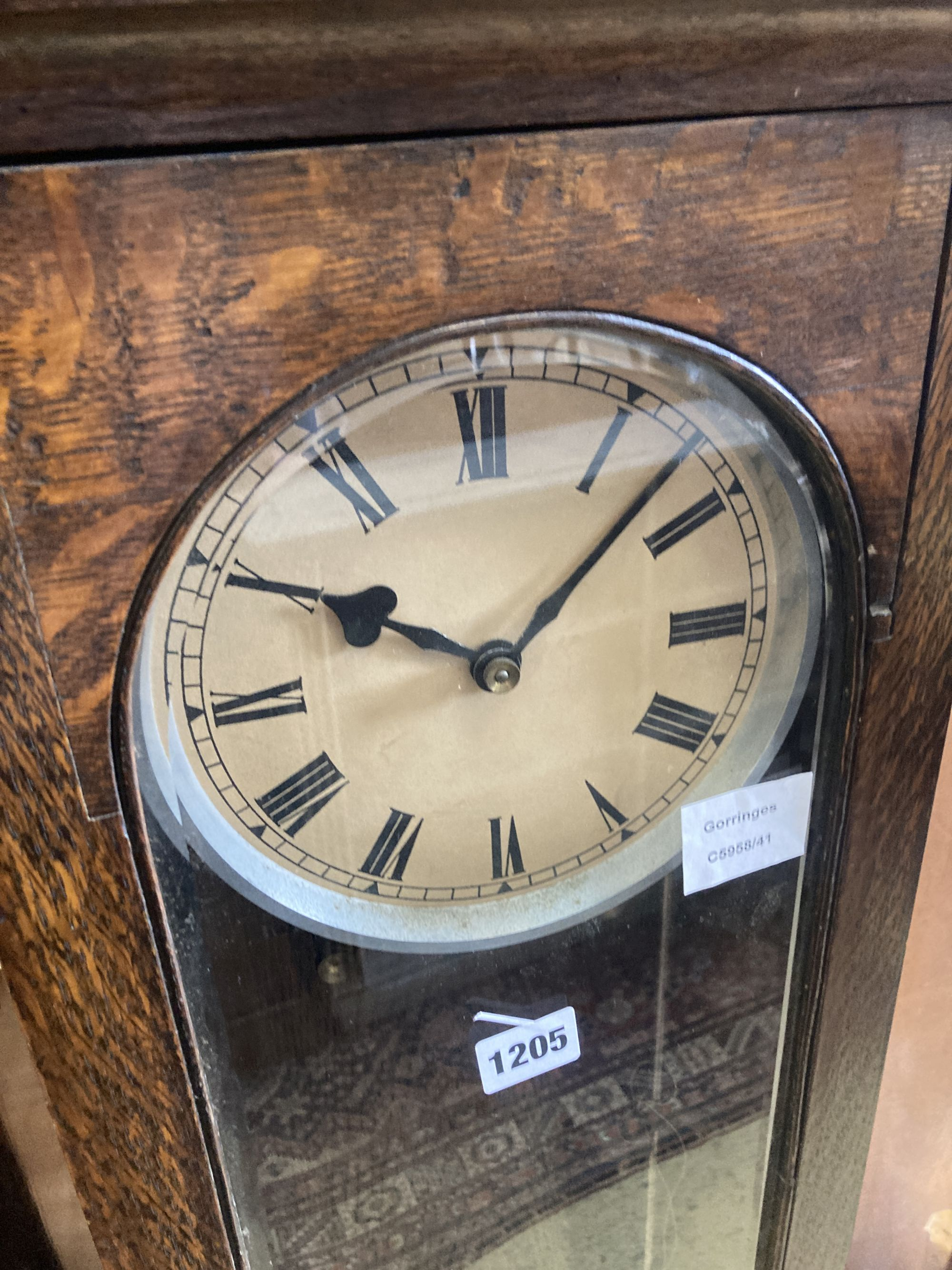 An early 20th century oak cased electric pendulum clock - Image 2 of 4