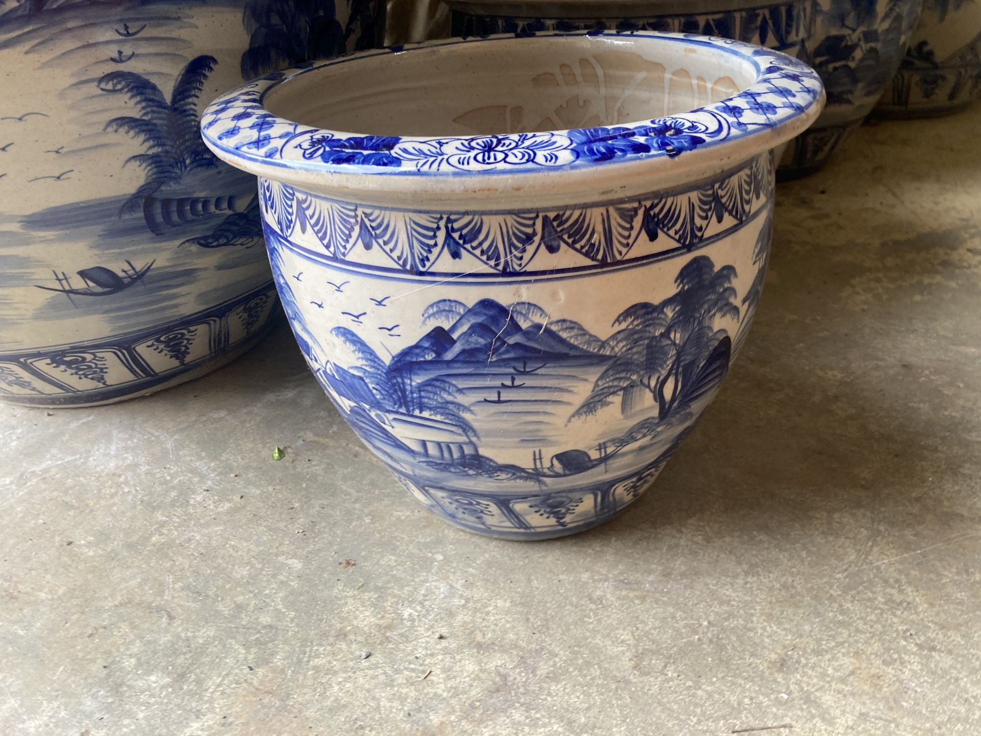 A graduated set of six Chinese style blue and white circular planters, largest width 70cm, height - Image 3 of 6