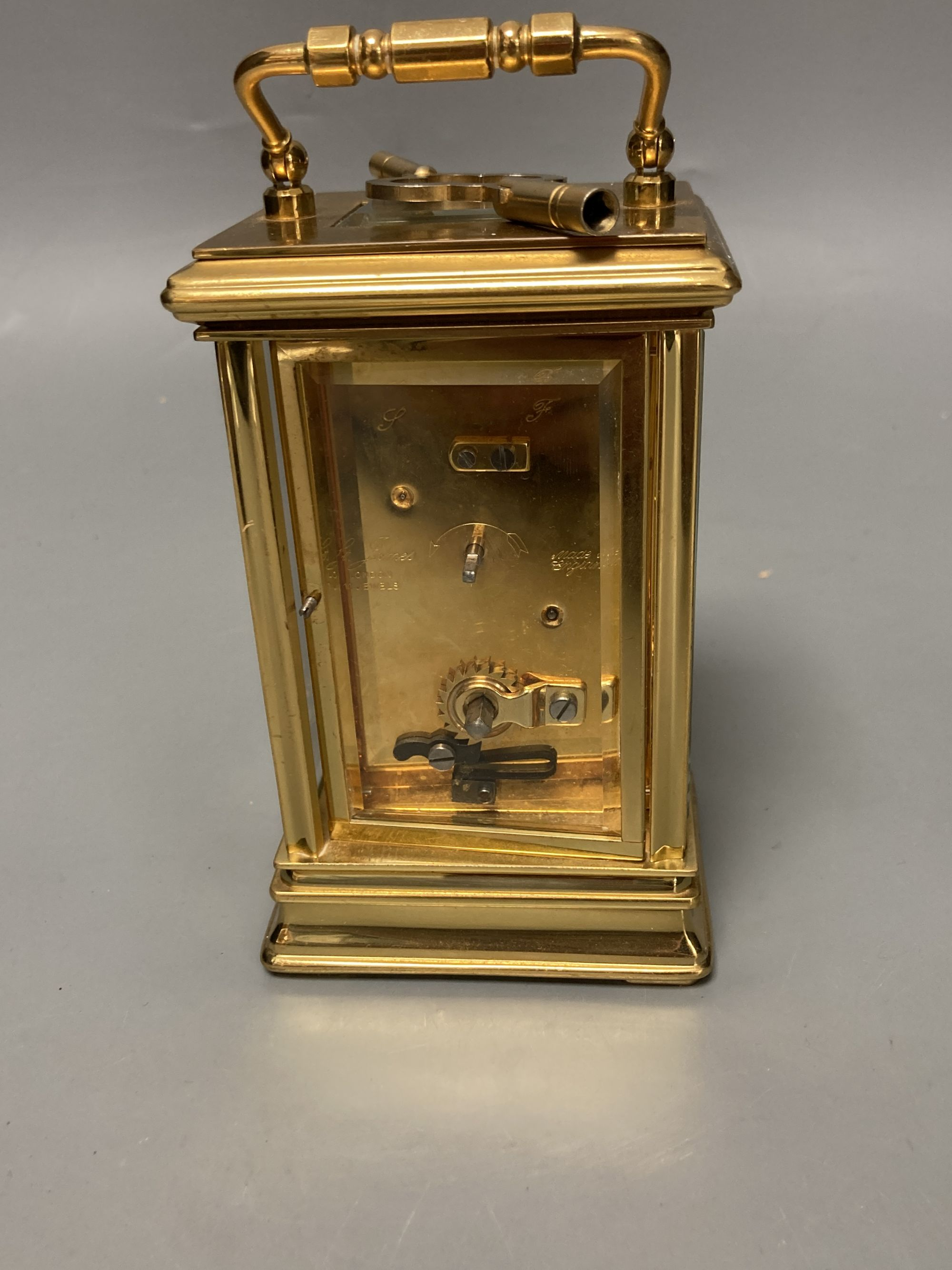 A modern French brass cased eight day presentation carriage timepiece - Image 4 of 5
