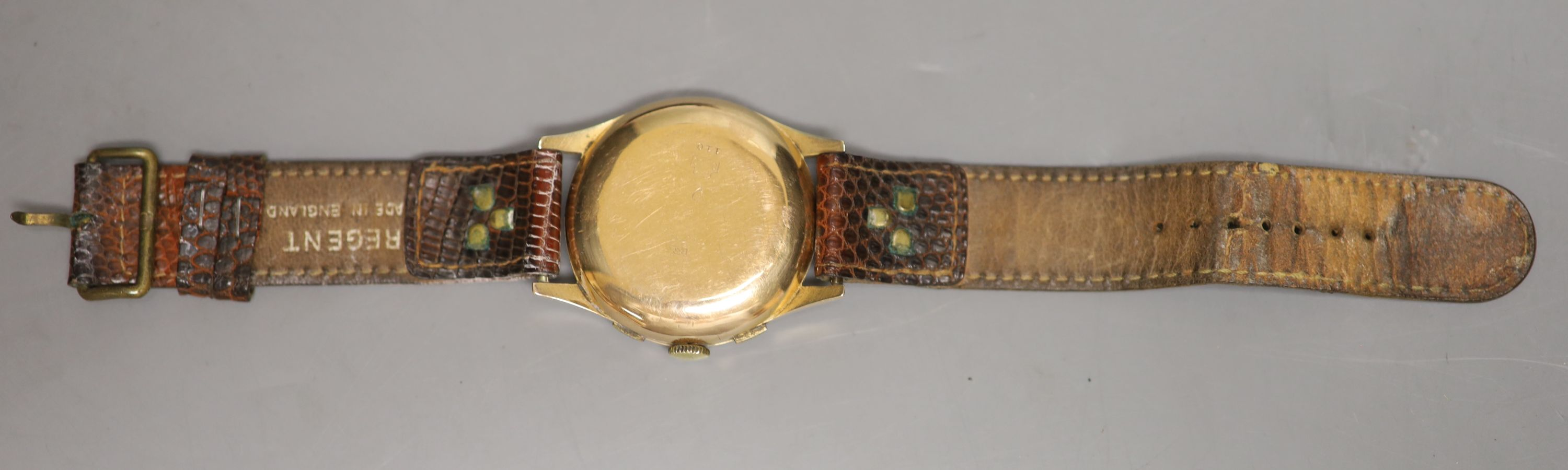 A Swiss 18k yellow metal chronograph manual wind wrist watch, on associated leather strap, with a - Image 3 of 3