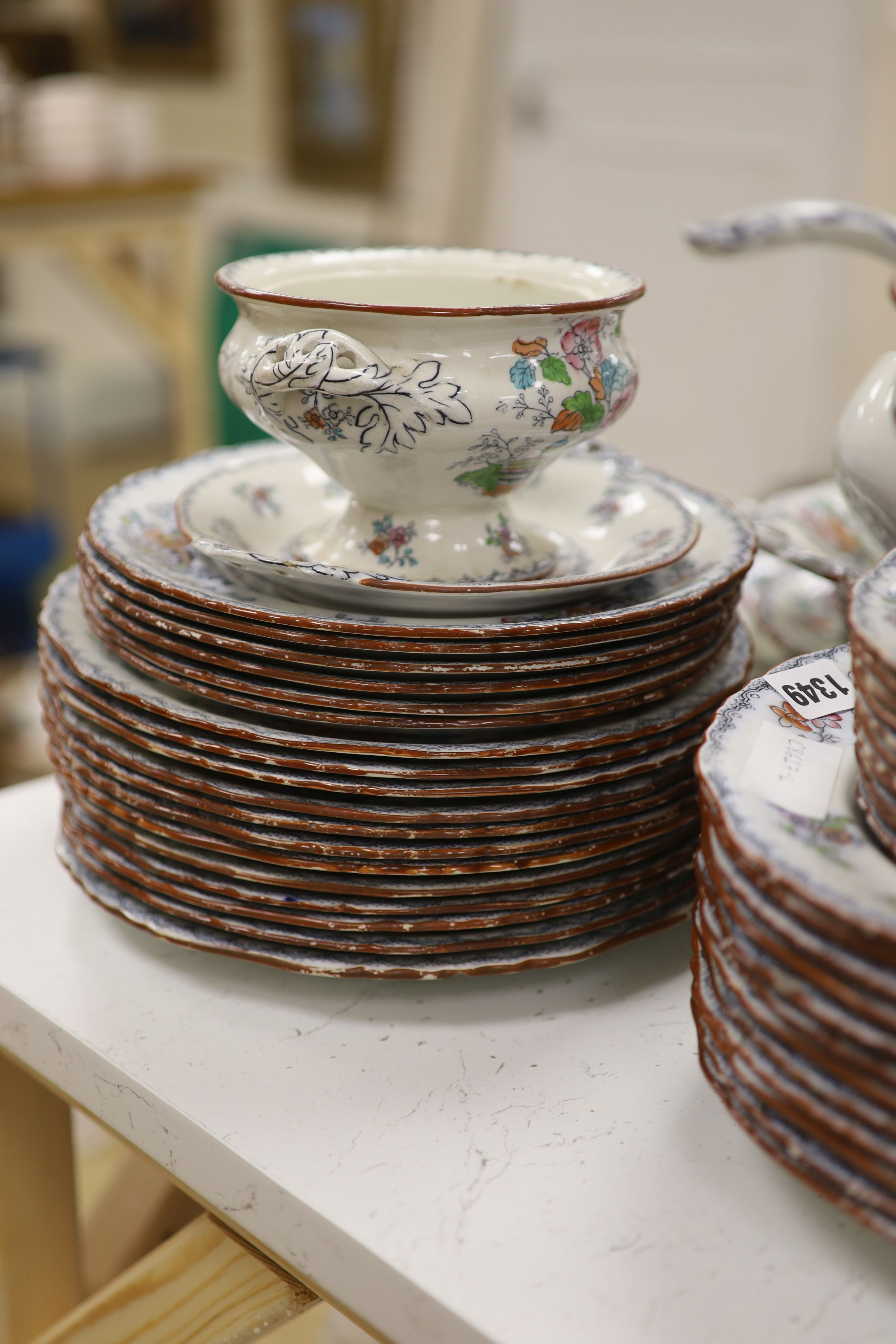 A Victorian Ashworth ironstone part dinner service - Image 5 of 6