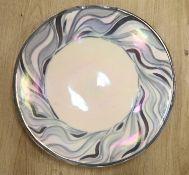 A large John Dunn studio pottery dish, signed, c.1970, diameter 52.5cm