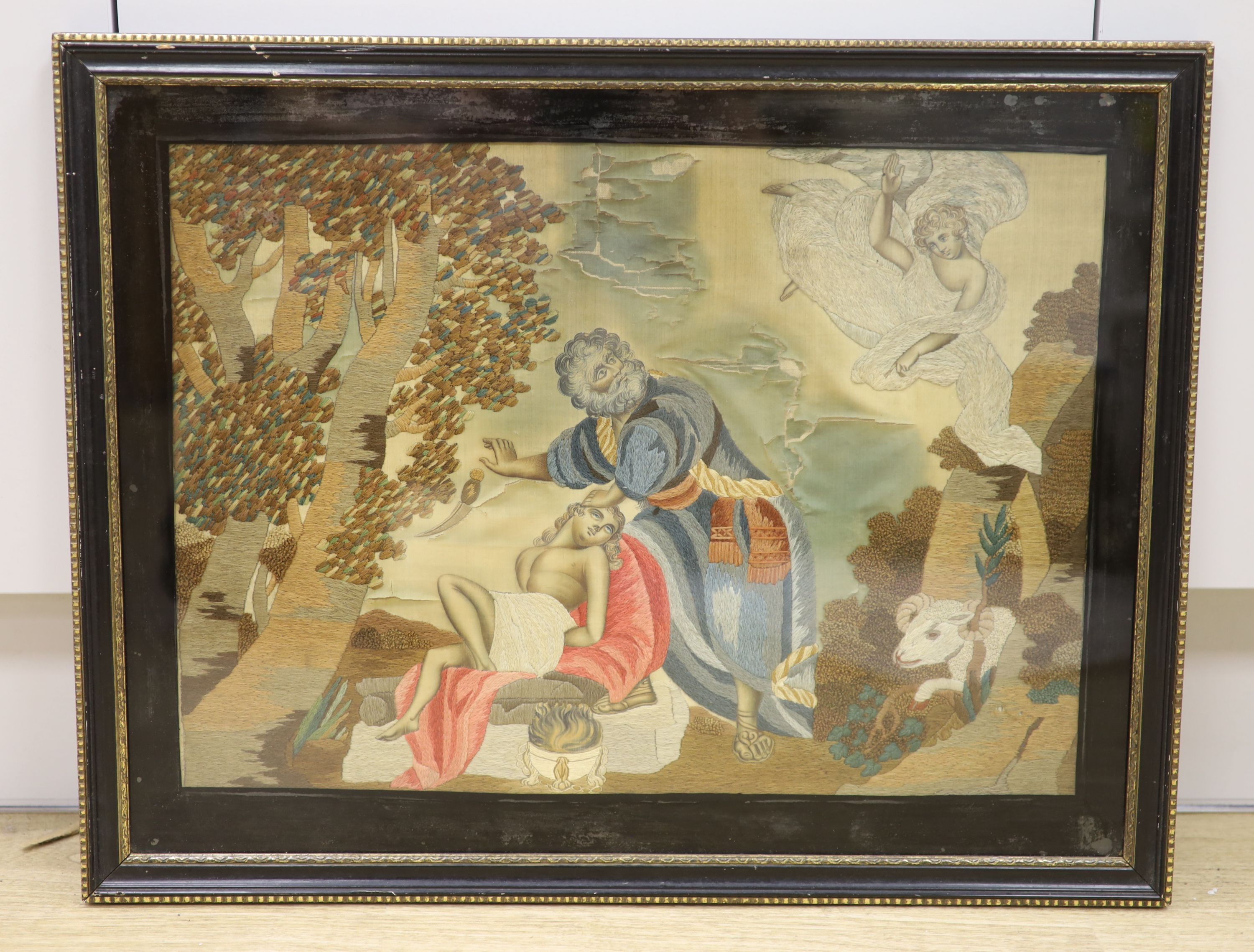 An early 19th century silkwork of Abraham and Isaac (a.f.), width 48cm, height 34cm - Image 2 of 2