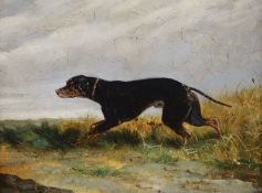 Circle of George Armfield (1810-1893), oil on artist board, Hound in a landscape, 21 x 27cm