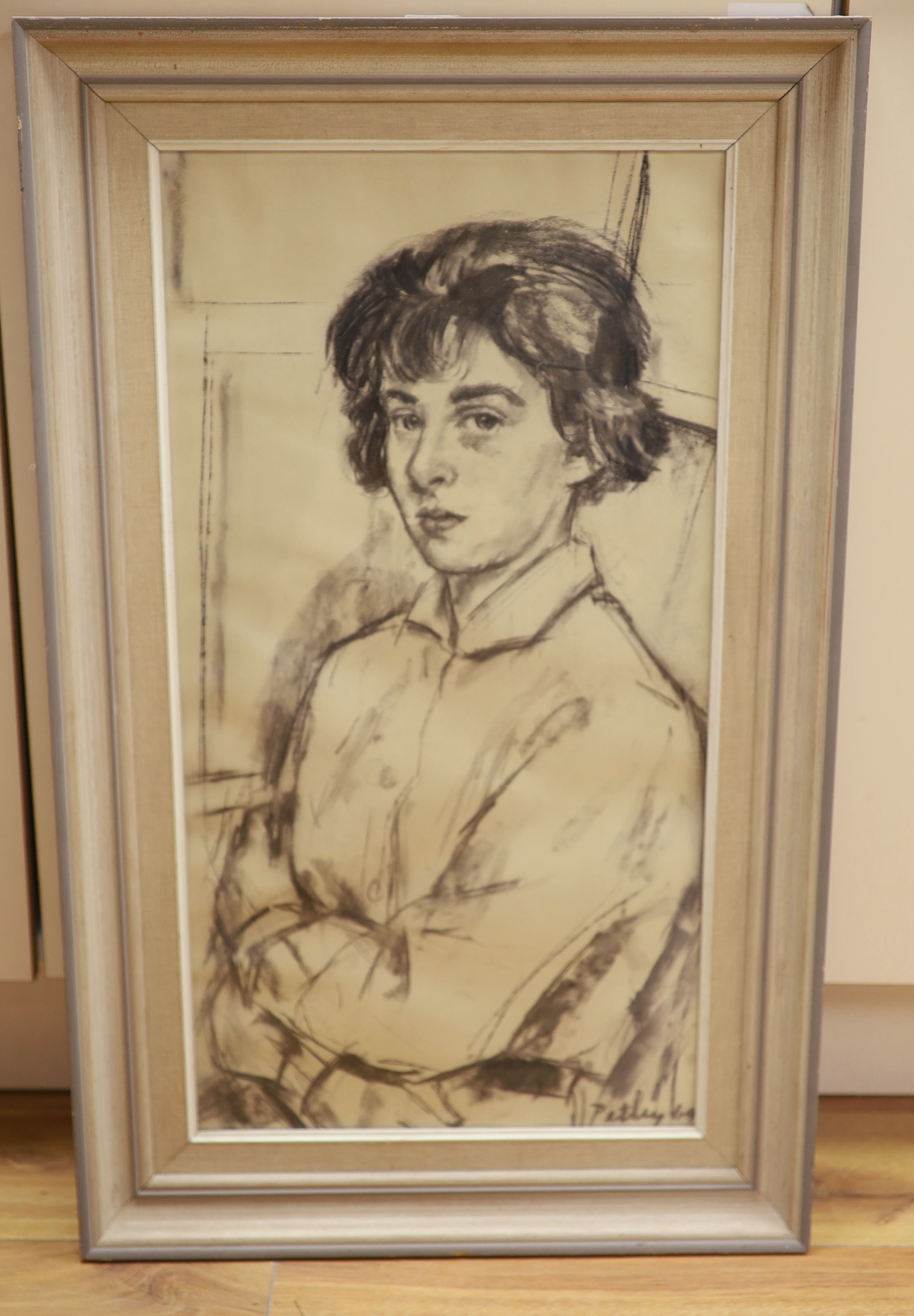 Llewellyn Petley Jones (1908-1986), charcoal drawing, Portrait of Miss Nicola Taylor, signed and - Image 2 of 3