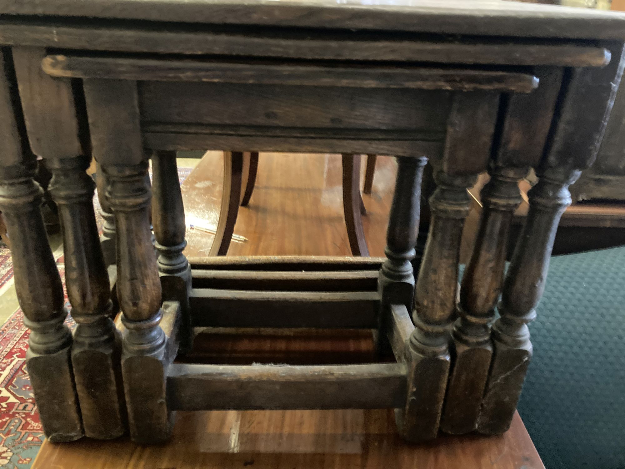 A nest of three 17th century style rectangular oak tea tables, width 61cm, depth 34cm, height 48cm - Image 4 of 4