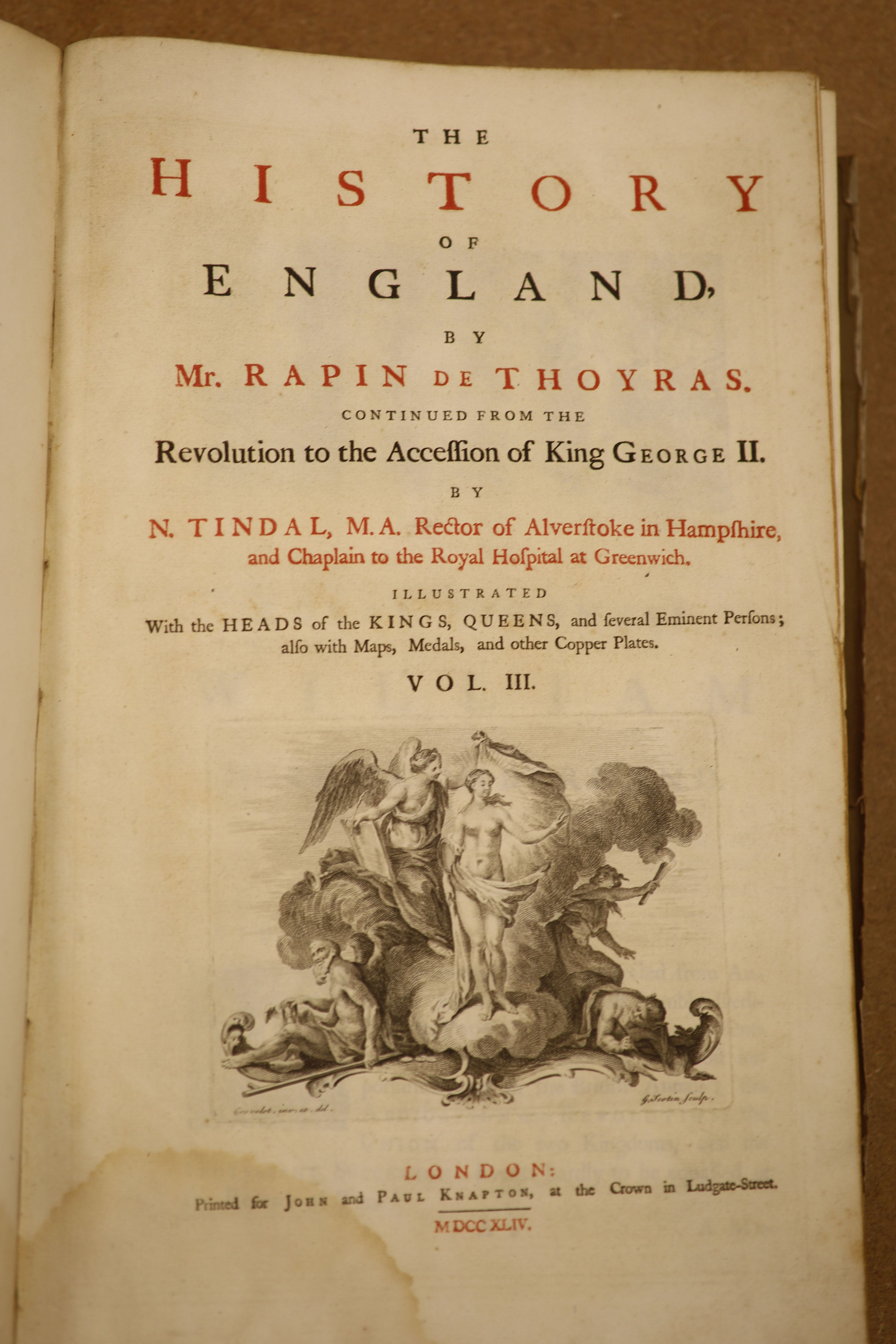 History of England, Tindal 4 vols, quarto, plates removed, boards detached - Image 4 of 5