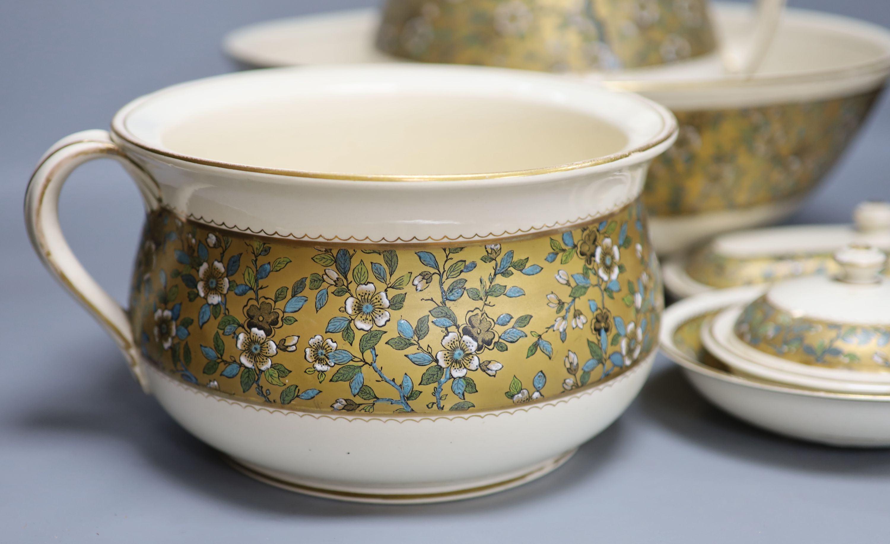 A Doulton Aesthetic period pottery washstand set, jug 27cm - Image 2 of 7
