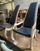 A pair of Bark furniture bespoke beech lounge chairs, one with arms. height 120cm, width 70cm, depth