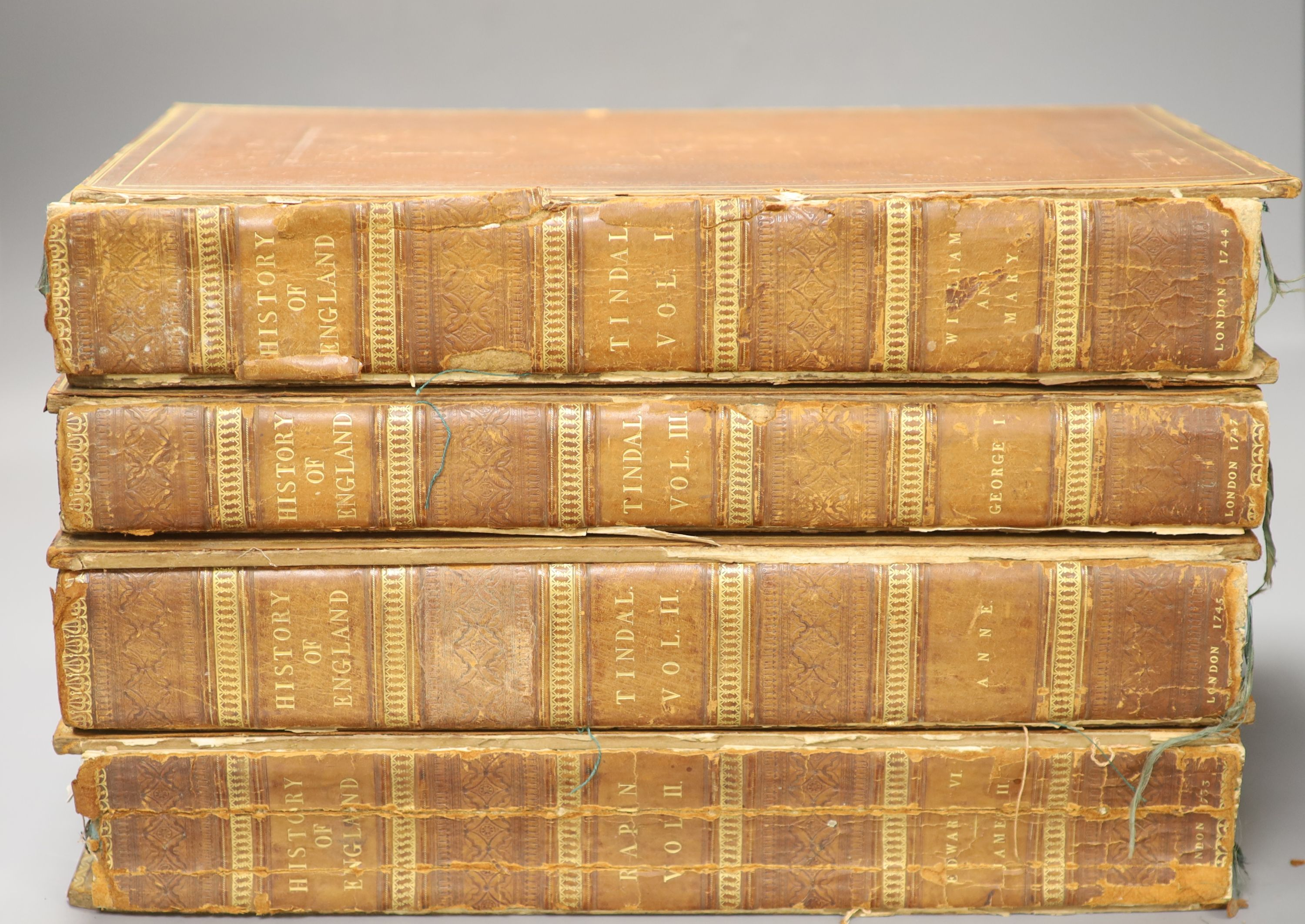 History of England, Tindal 4 vols, quarto, plates removed, boards detached