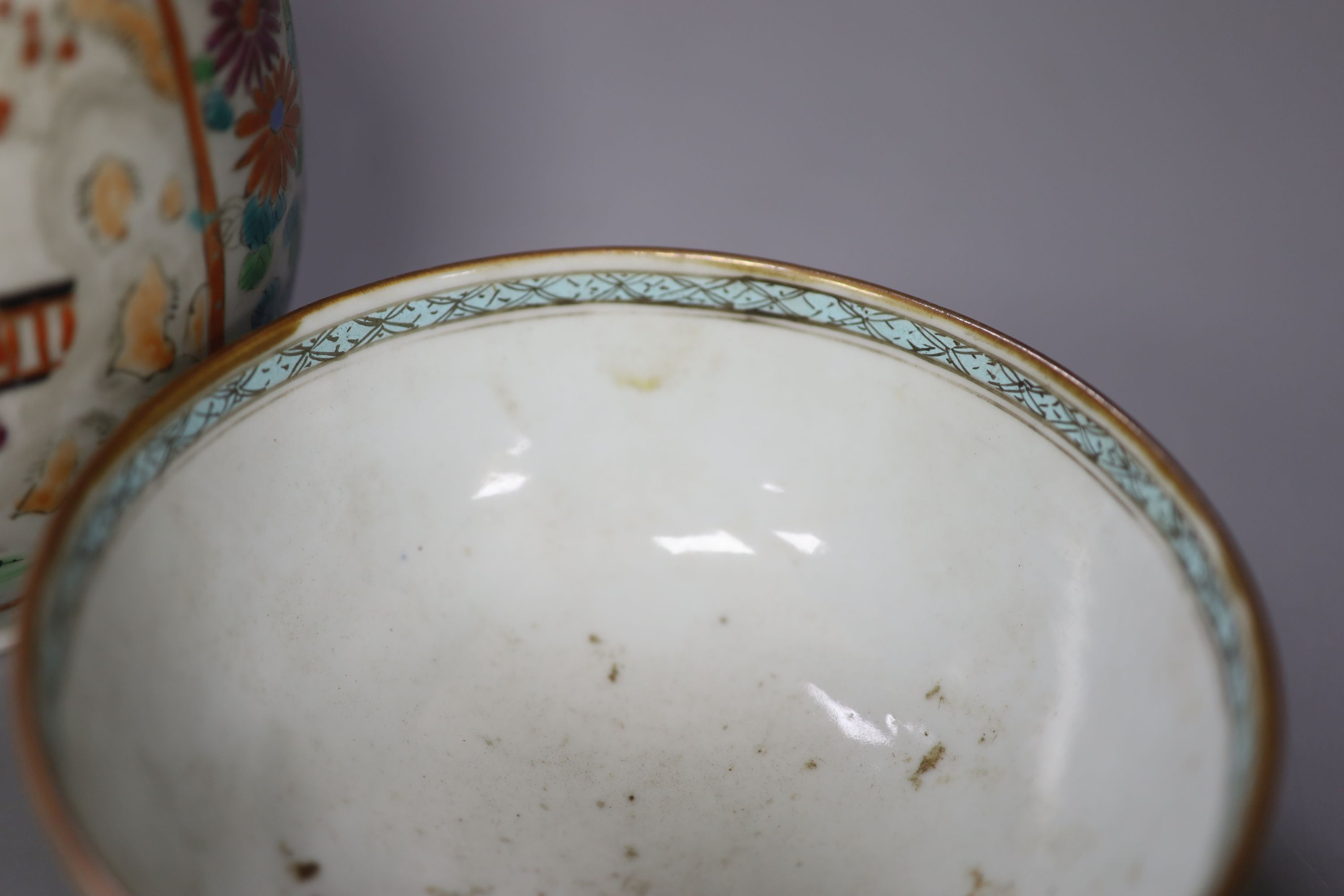 An 18th century Chinese famille rose bowl, a Japanese porcelain vase and and invalid cup, tallest - Image 4 of 7