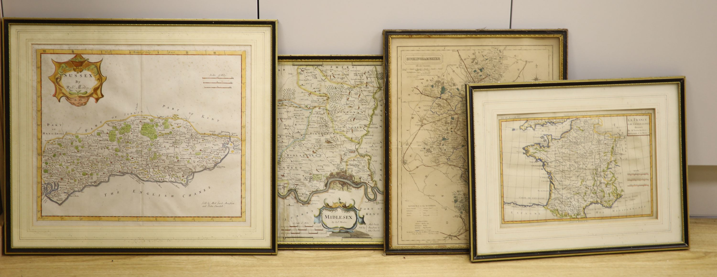 Robert Mordan, two coloured engravings, Maps of Sussex and Midlesex, together with two later