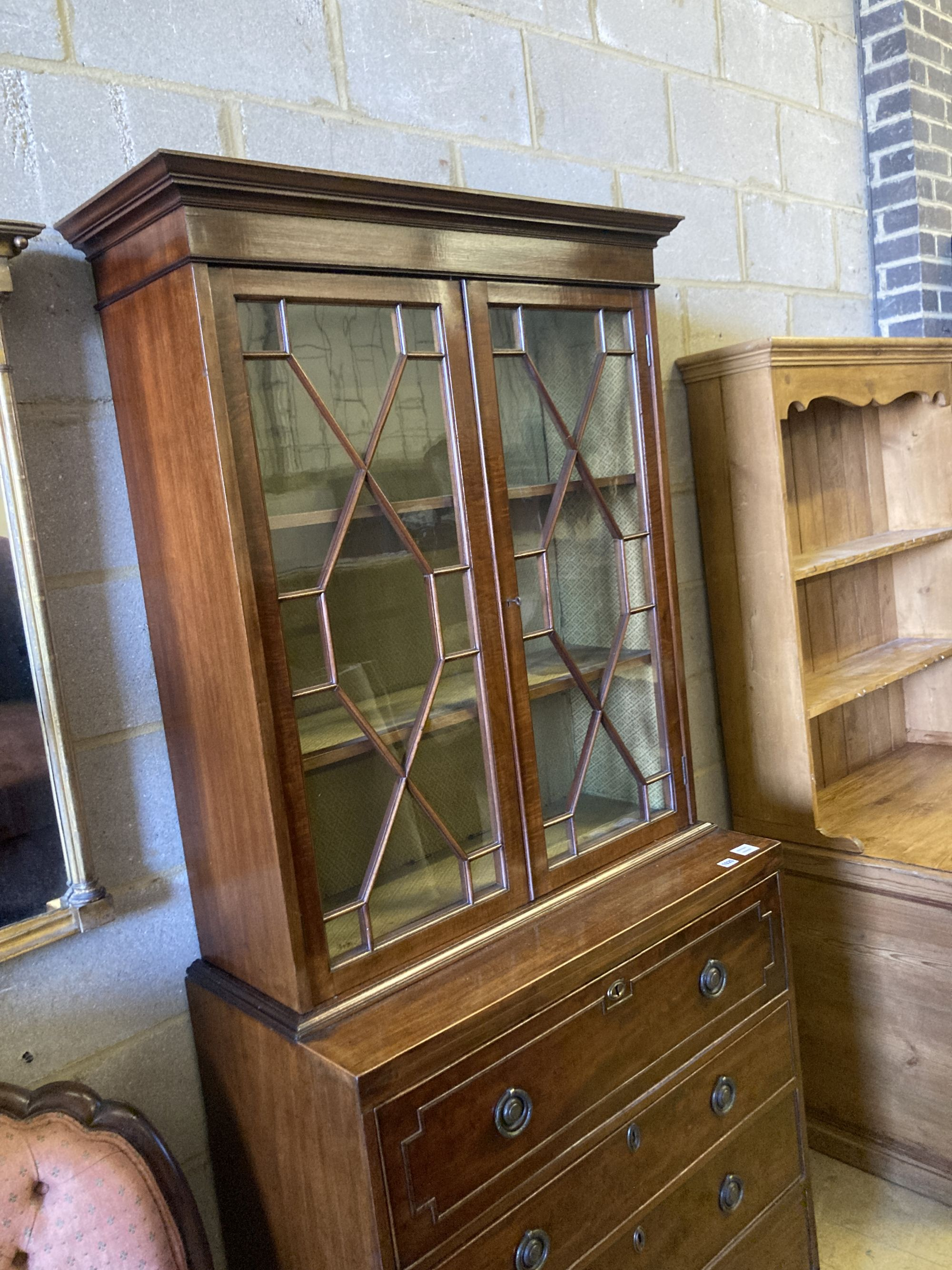 A George III Sheraton style mahogany secretaire bookcase, width 91cm, depth 46cm, height - Image 2 of 3