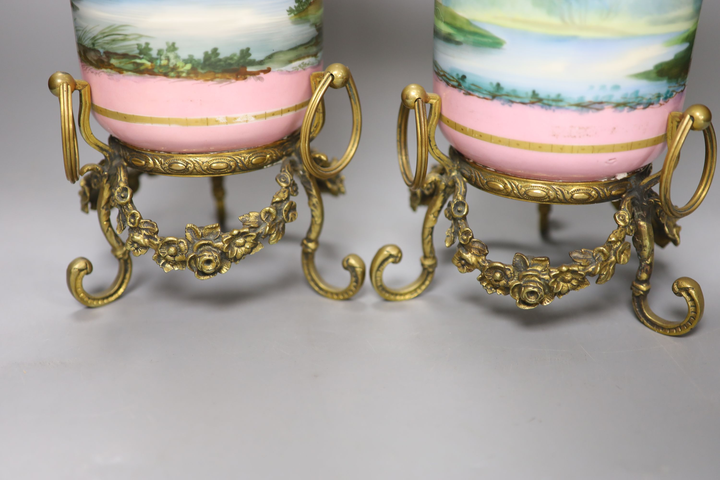 A pair of late 19th century Paris porcelain and gilt metal mounted vases, height 33cmCONDITION: Good - Image 3 of 4