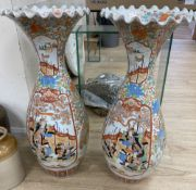 A pair of Kutani vases, 76cm highCONDITION: Badly cracked at the top of the vases and have both been