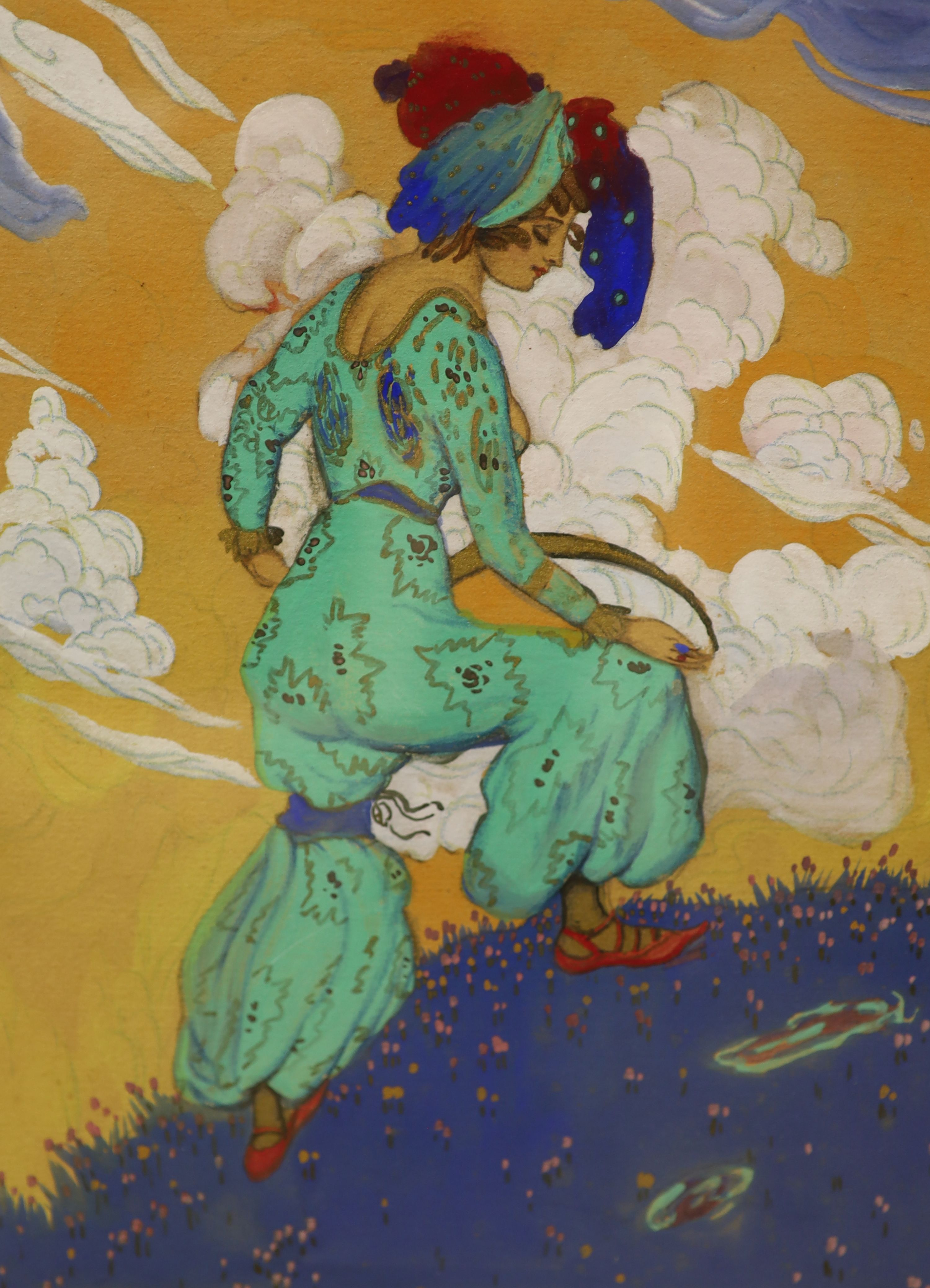 Manner of Leon Bakst (1866-1924), mixed media, Harlequin and companion, 30 x 23cm - Image 3 of 3
