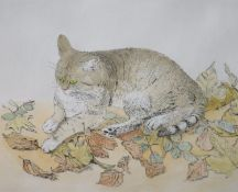 Gillian Whaite (1934-), etching and watercolour, Cat among autumn leaves, signed, 11/75, 40 x 50cm
