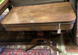 A Regency mahogany folding card table, width 89cm depth 44cm height 68cm