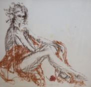 Tom Merrifield (1933-), coloured chalk, Study of a seated woman, signed, 92 x 95cmCONDITION: Some