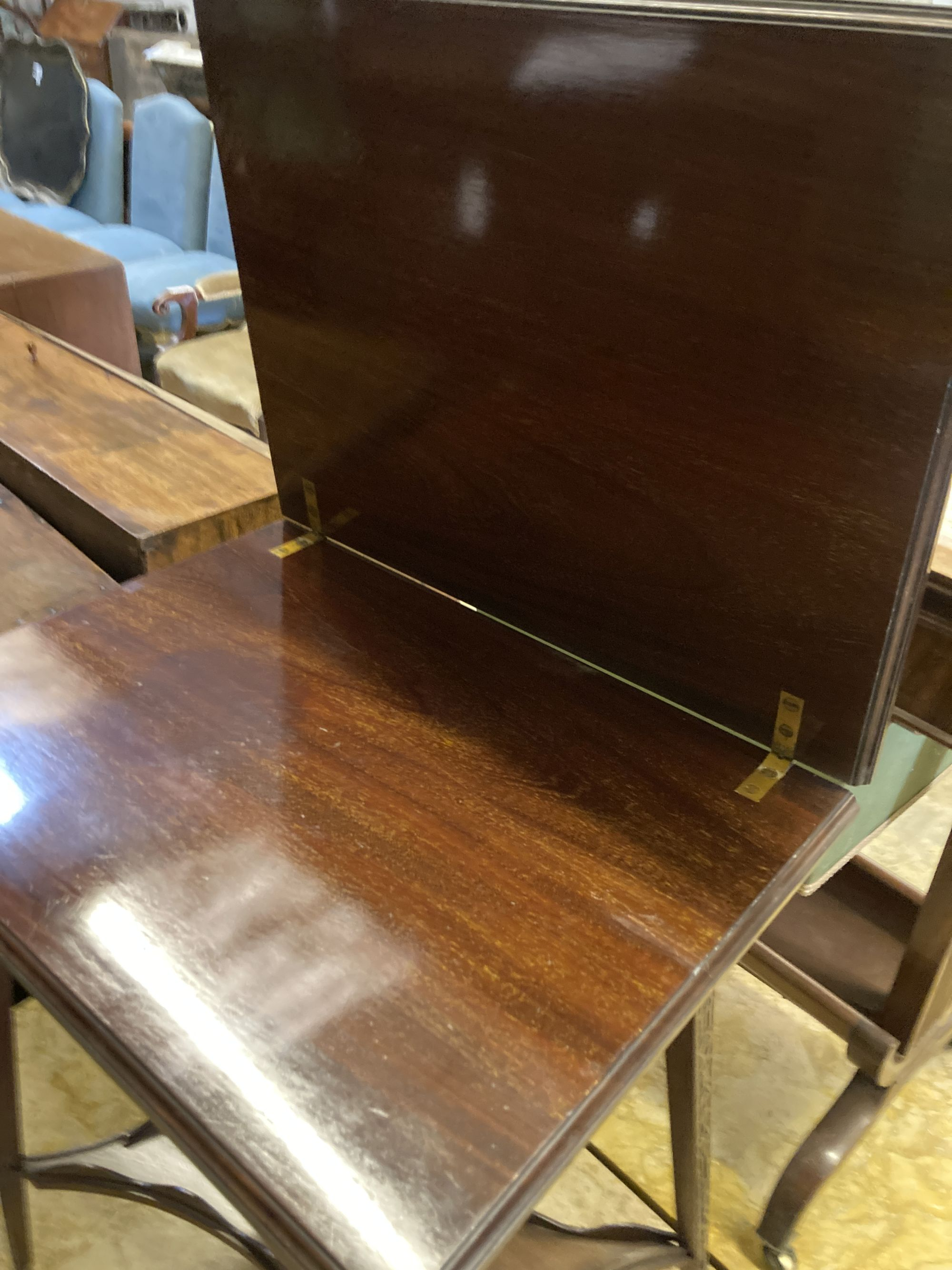 A late Victorian mahogany blind fret folding tea table, width 50cm, depth 38cm, height 65cm - Image 4 of 4