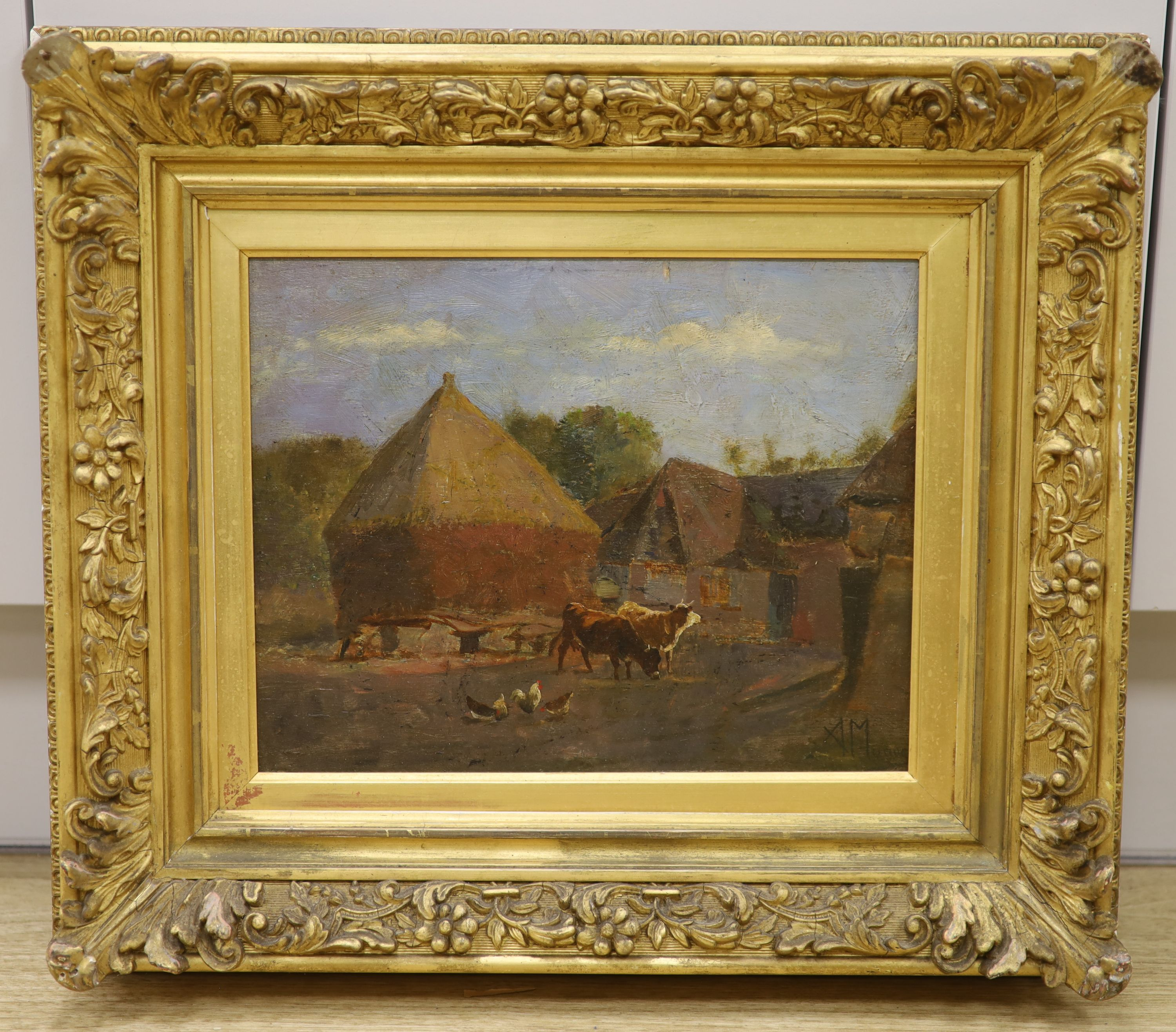 Attributed to Anton Mauve, oil on board, Farmyard with cattle and chickens, signed, 23 x - Image 2 of 4