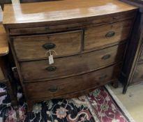A Regency mahogany bowfront chest, fitted brushing slide, width 96cm, depth 49cm, height 86cm
