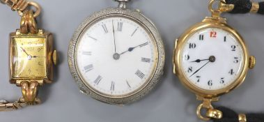 An early 20th century 9ct gold manual wind wrist watch, gross 23.9 grams, one other watch and a