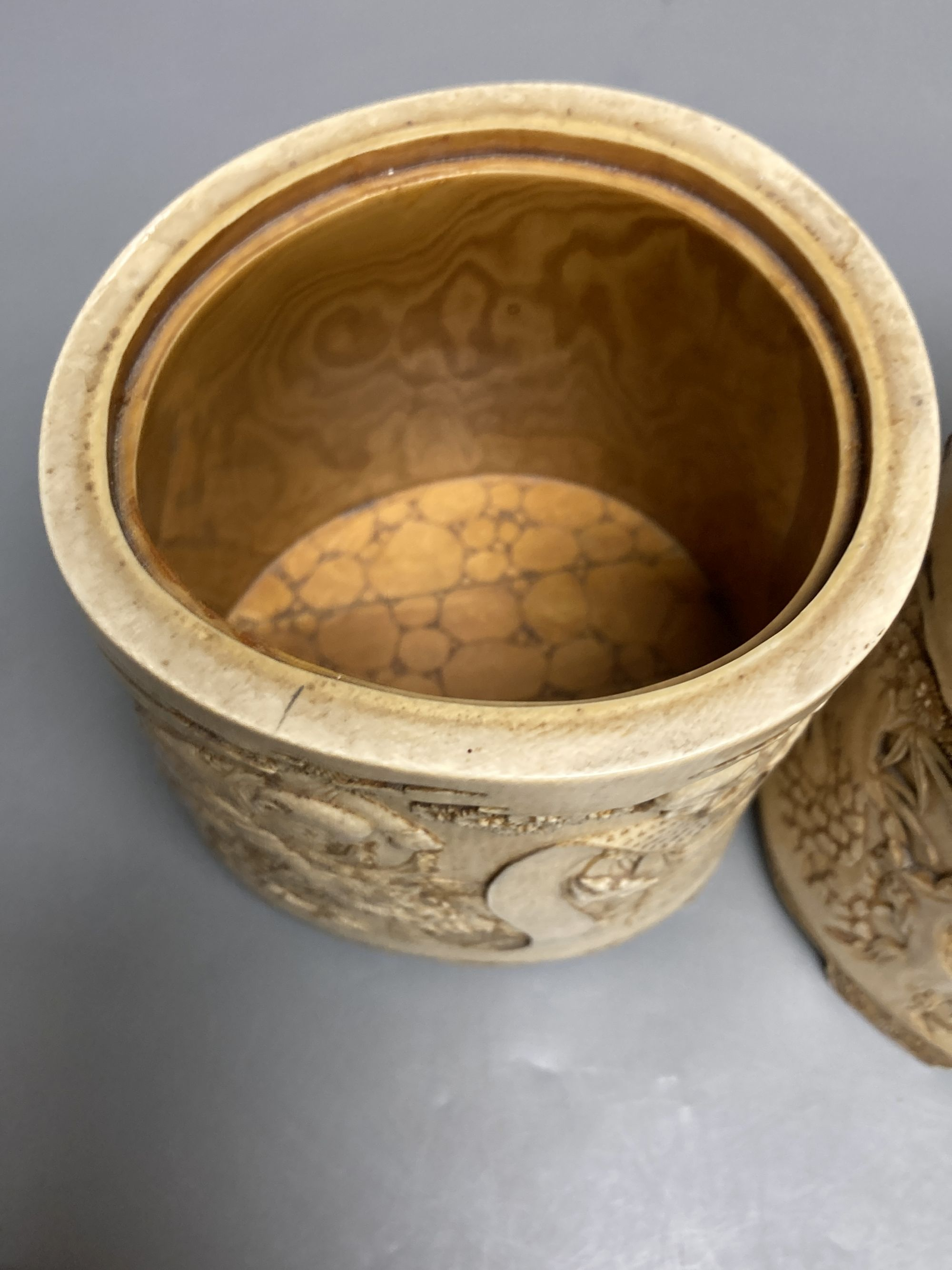 A pair of 19th century Chinese finely carved ivory lidded pots, 12.5cm high and Japanese - Image 4 of 5