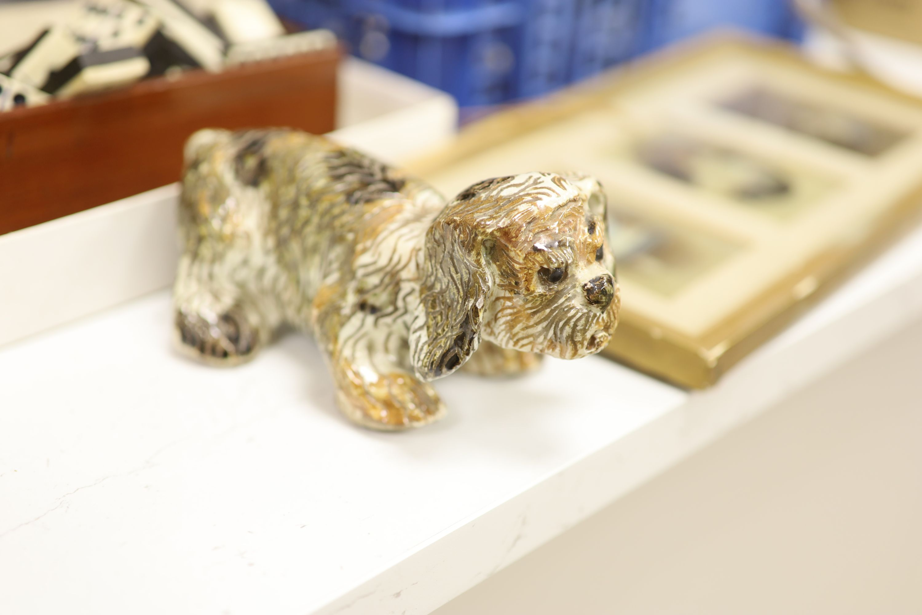A quantity of mixed collectables including two fans, a pottery dog, camera's etc. - Image 3 of 6
