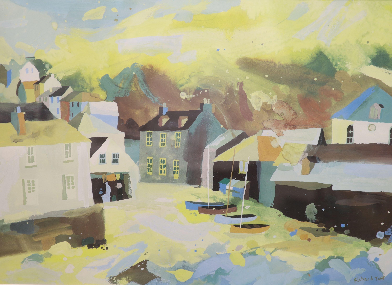 Richard Tuff (1965-), colour print, Fishing village, 38 x 53cm