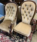 Two Victorian mahogany spoonback chairs (one with arms)