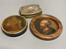 An Austrian papier mache portrait of a gentleman, in turned frame, early 19th century, a similar box
