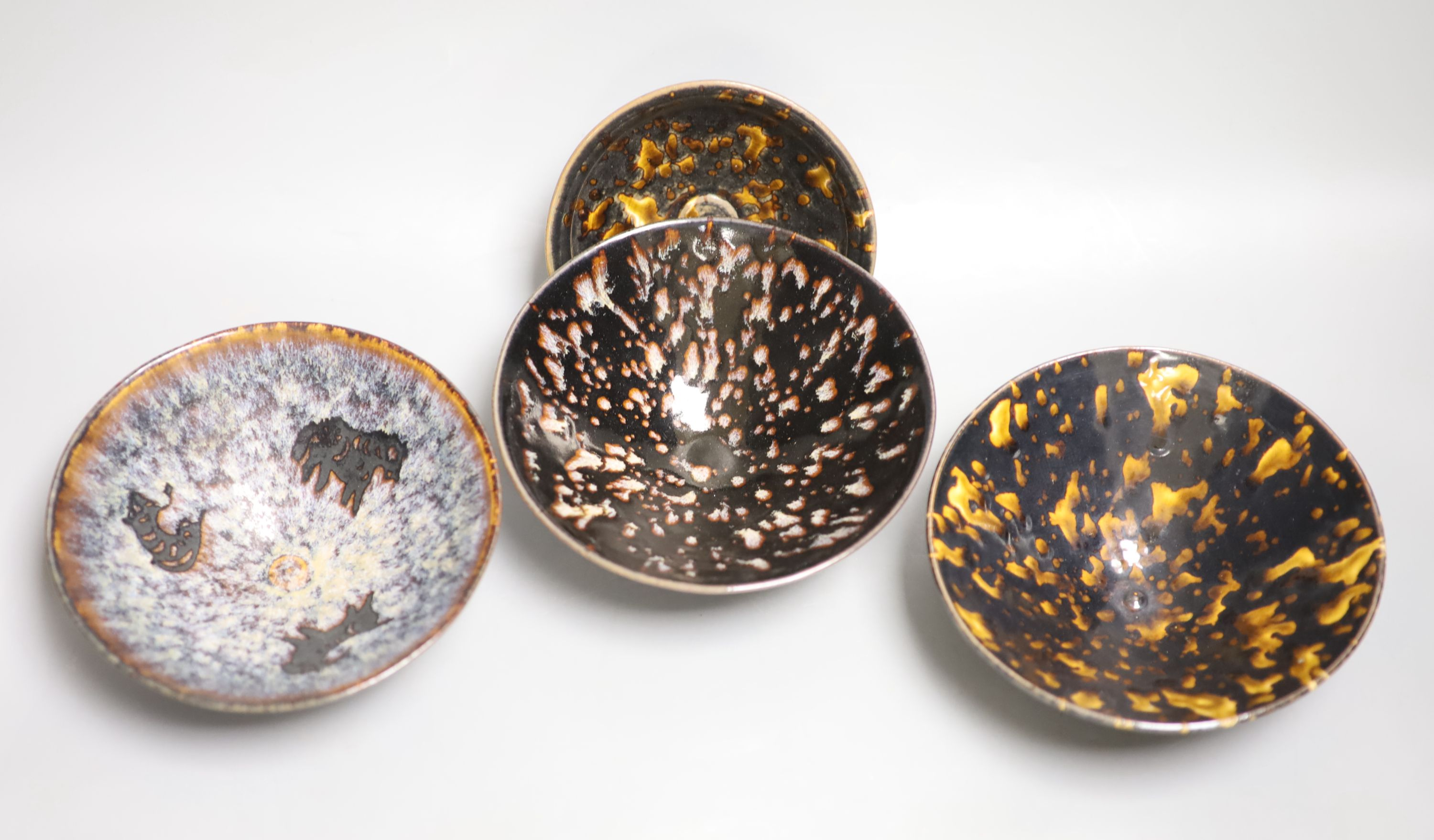 Four Chinese splash glaze bowls, diameter 16cmCONDITION: Good condition. - Image 2 of 4