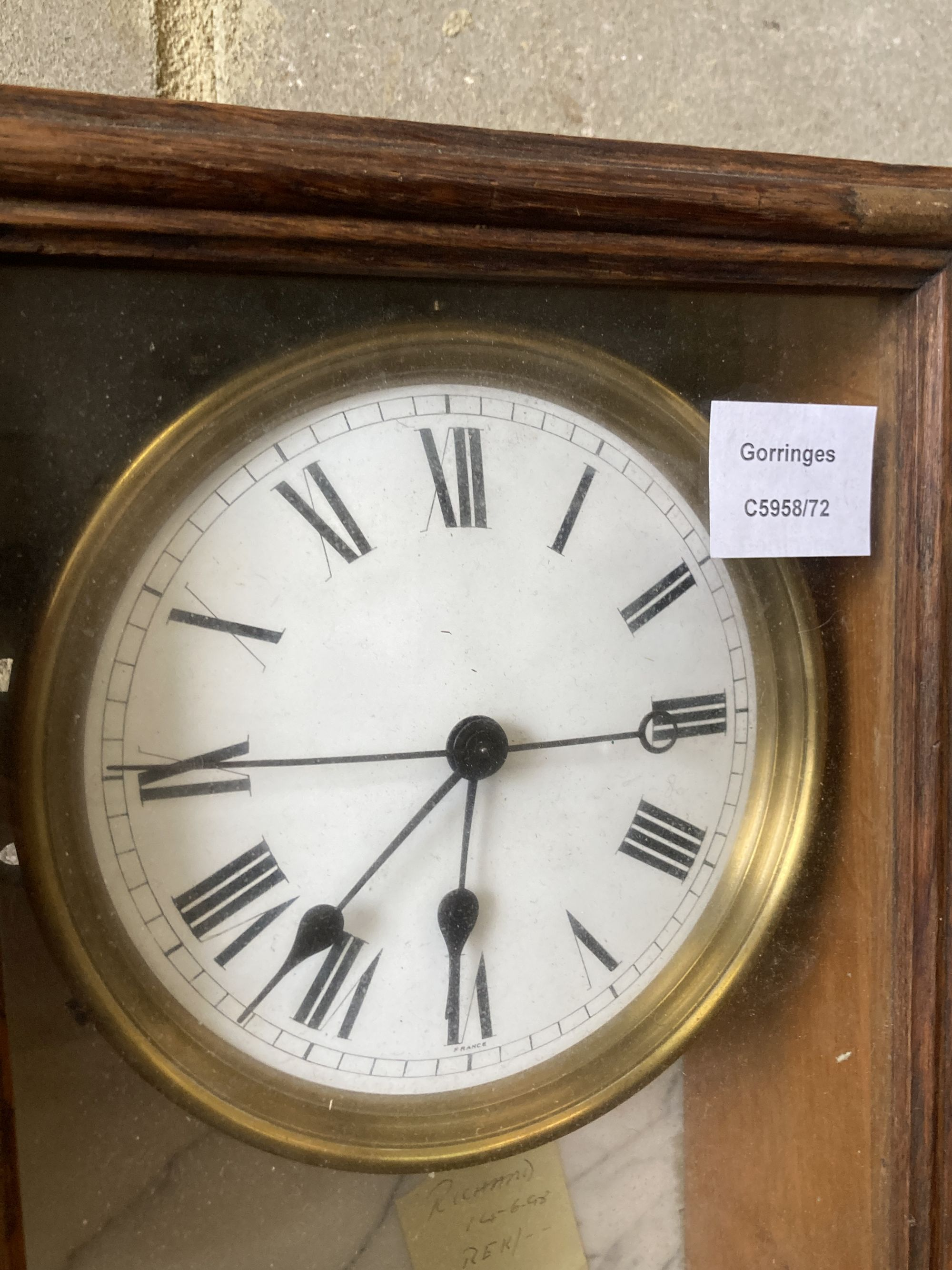 A Brillie oak and marble electric wall clock - Image 2 of 3