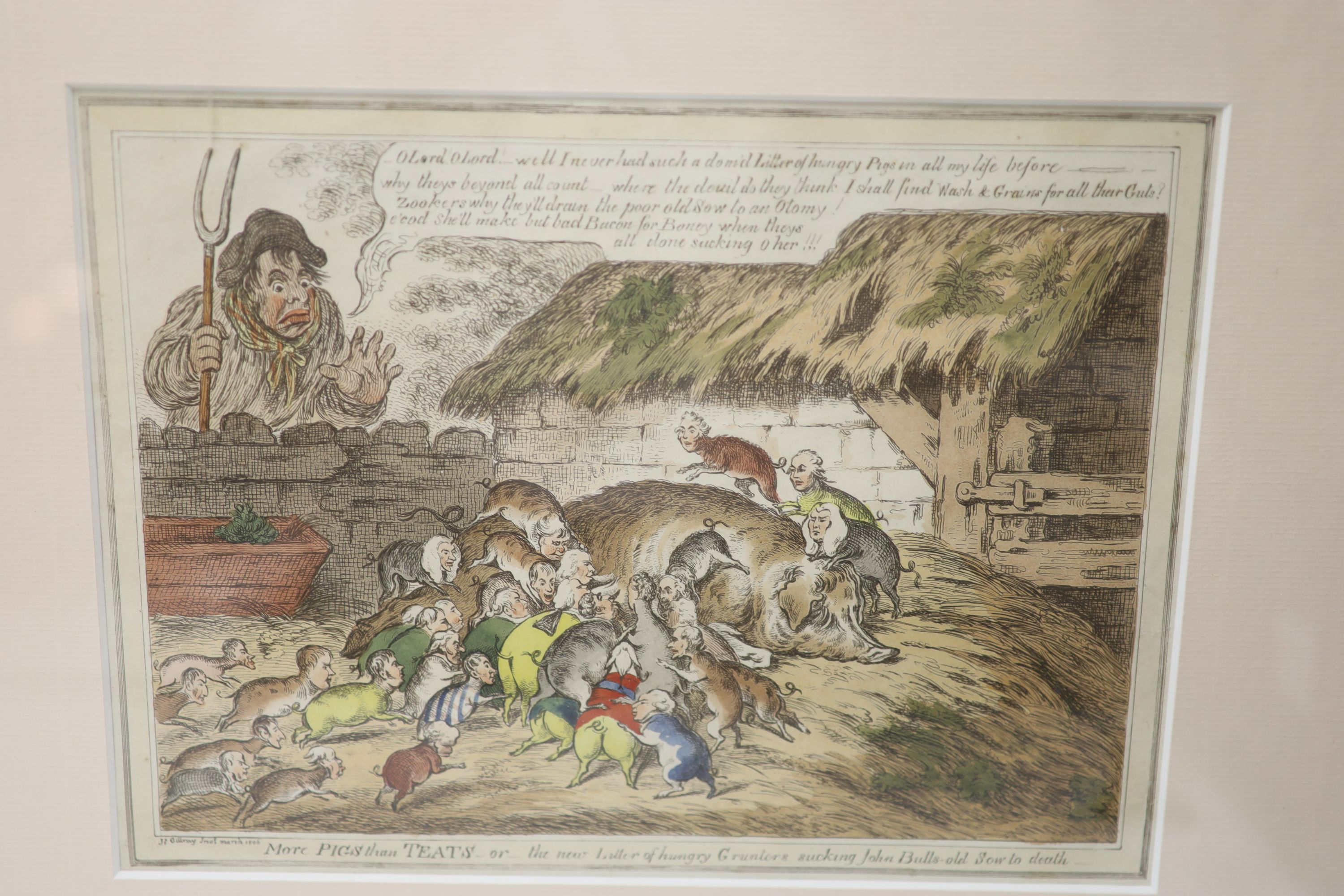 Boehm after Gillray, seven engravings, Caricatures including 'Political Dreamings', 'Political - Image 2 of 8