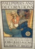 Conrad H. Leigh, original colour lithograph poster, Wallpapers and Decorations, John Gilkes &