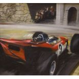 Dion Pears (1829-1985), oil on canvas laid on board, Motor racing scene, signed, 34 x 38cm