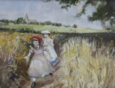 John Strickland Goodall R.I. (1908-1996), watercolour, Girls in a cornfield, signed, 14 x 18cm
