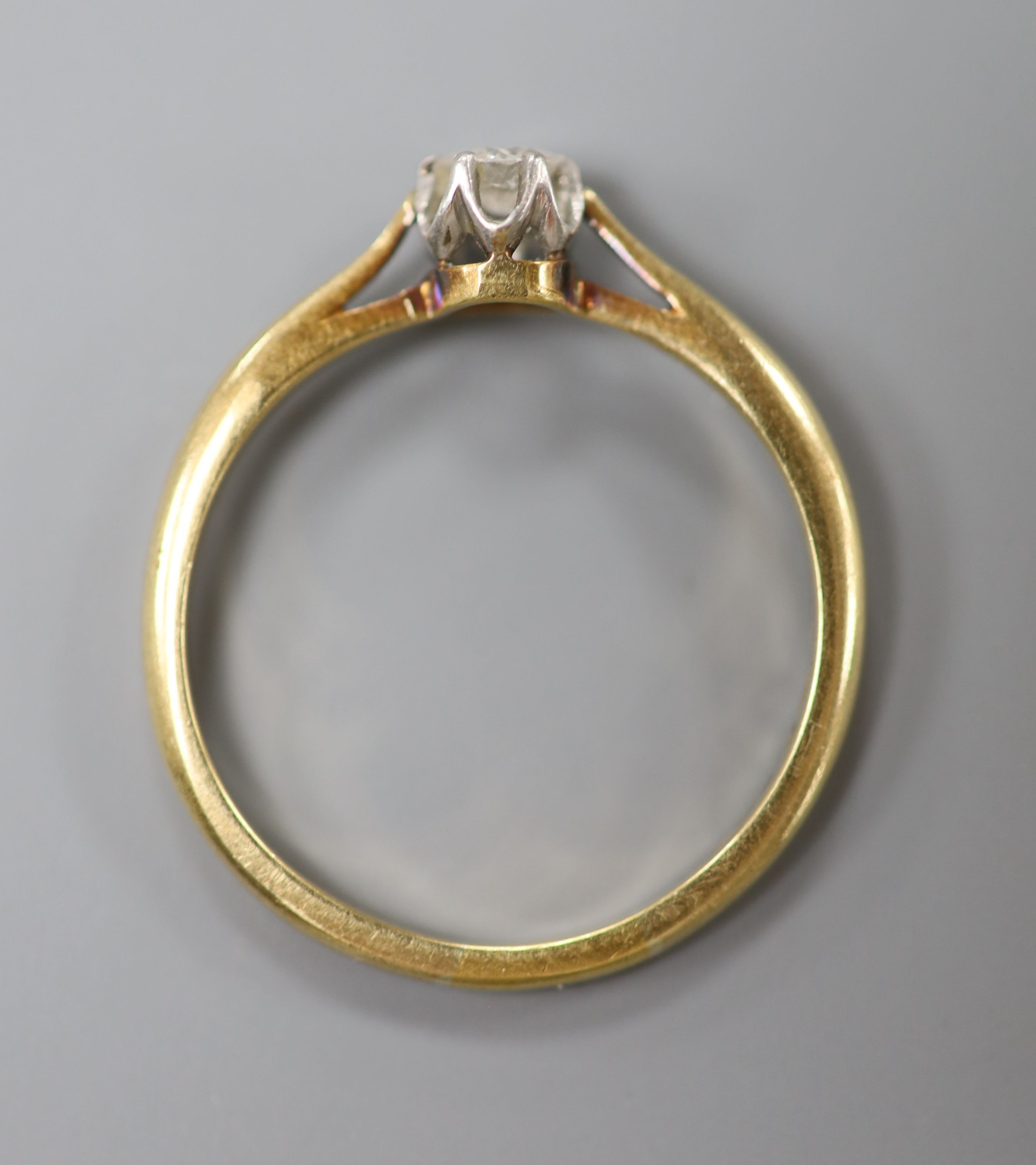 An 18ct and solitaire diamond ring, size Q, gross 2.5 grams, the stone weighing approximately 0. - Image 3 of 3