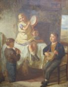 MR (19th century), oil on canvas, Children playing musical instruments, initialled, 60 x 49cm