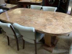An Art Deco burr walnut dining table, width 214cm, depth 99cm, height 76cm together with four