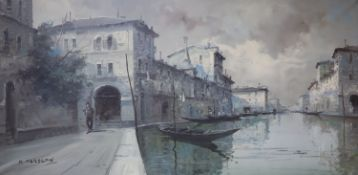 Maud Isabel Maraspin (American, 1867-1939), oil on canvas, Venetian canal scene, signed, 50 x 100cm