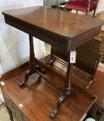 A Victorian mahogany stretcher table, width 62cm, depth 38cm, height 73cm