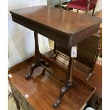 A Victorian mahogany stretcher table, width 62cm, depth 38cm, height 73cm
