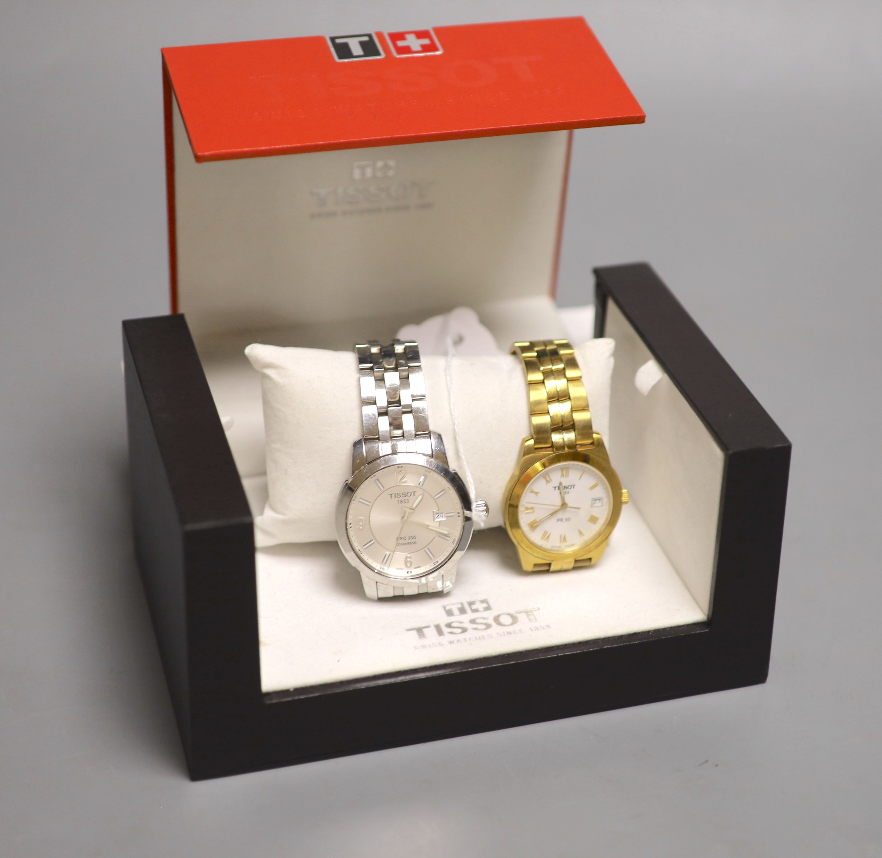A Tissot 1853 PRC 200 gentleman's stainless steel wristwatch and a Tissot 1853 PR 50 gold-plated