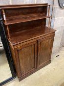 An early Victorian mahogany chiffonier, width 96cm, depth 32cm, height 146cm