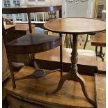 A George III mahogany corner washstand, width 58cm, depth 40cm, height 83cm together with a circular