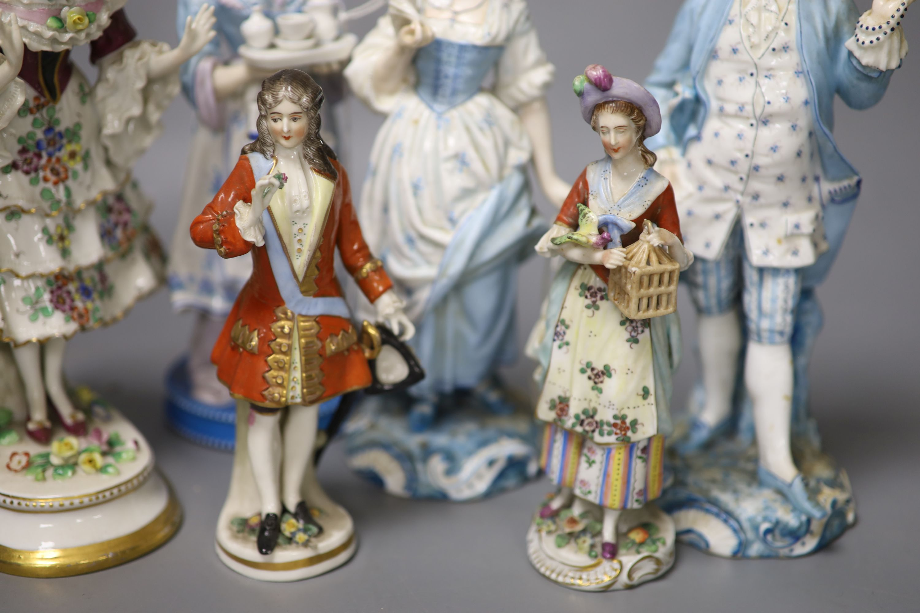 Six Continental porcelain figures, tallest 23cmCONDITION: Tall enamelled female - three of her - Image 3 of 6