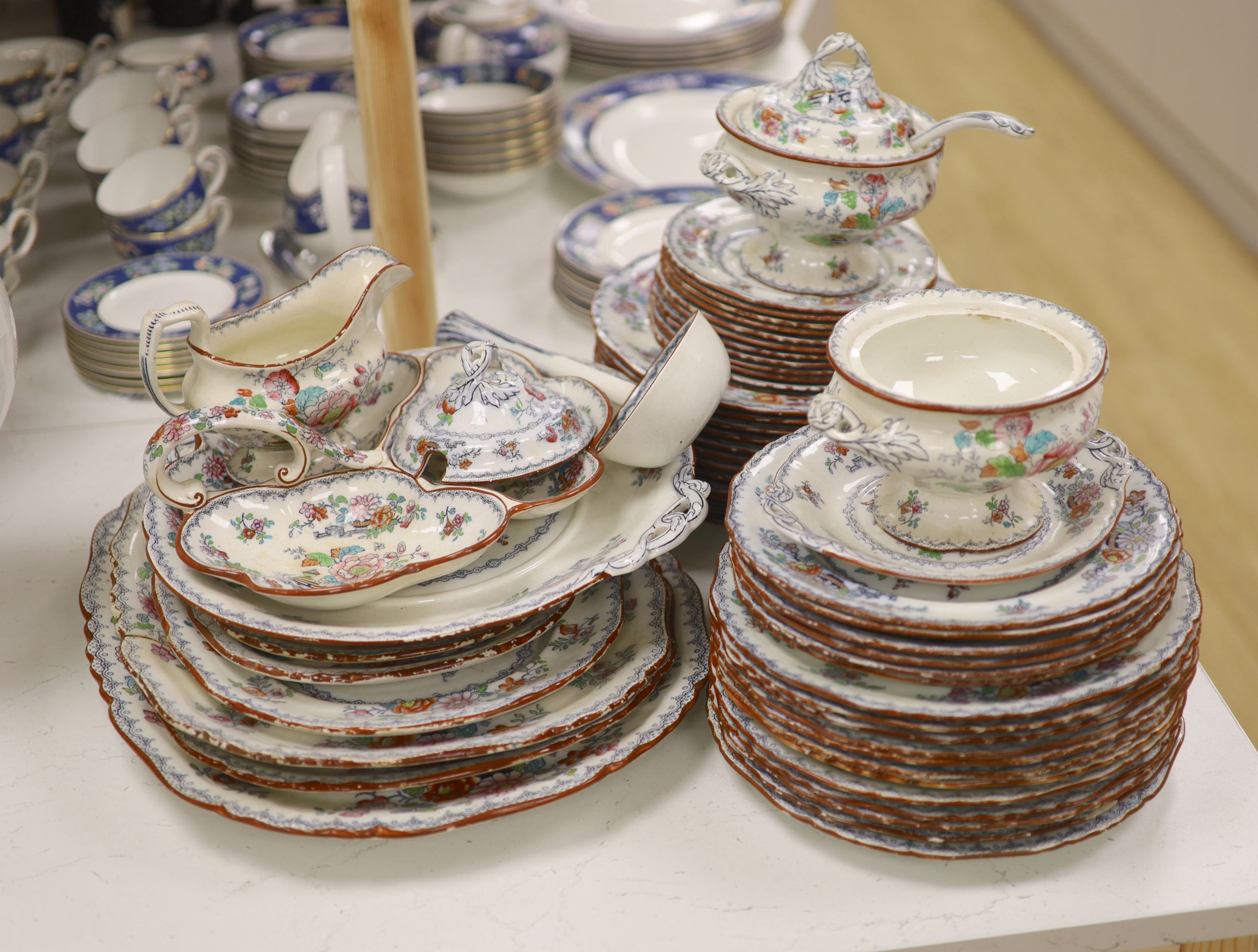 A Victorian Ashworth ironstone part dinner service