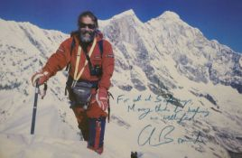 Mountaineering interest - Chris Bonington signed coloured photograph with letter